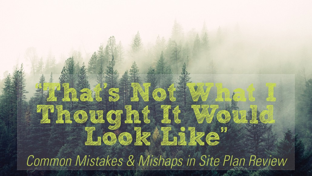 """That's Not What I Thought It Would Look Like"" Common Mistakes & Mishaps in Site Plan Review"